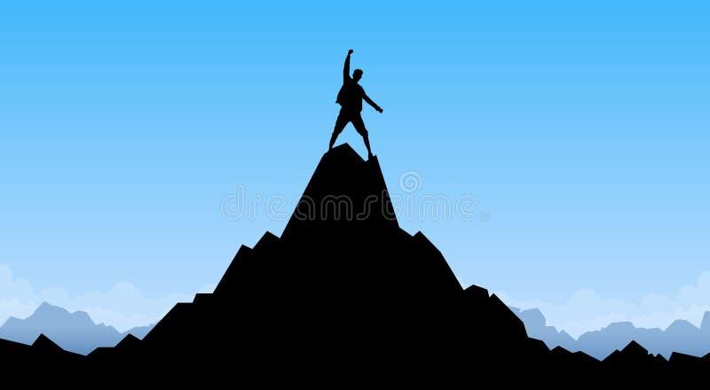 Escalador del pico de la roca de la montaña del top del soporte de la silueta del hombre del viajero stock de ilustración