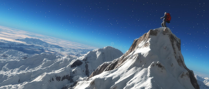 Escalador en un pico nevoso libre illustration