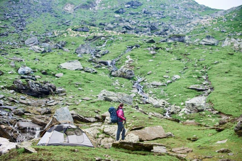 Escalador femenino joven en roca cerca de la tienda en cuesta rocosa verde en montañas en Rumania foto de archivo