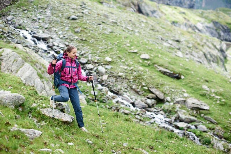 Escalador femenino joven que camina abajo de la colina rocosa herbosa en montañas hermosas verdes en Rumania foto de archivo