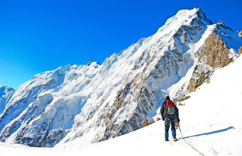 Escalador que alcanza la cumbre de la montaña imagen de archivo libre de regalías