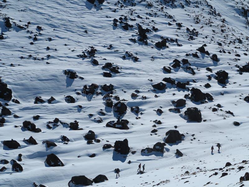 Escaladores del tongariro del Mt foto de archivo libre de regalías