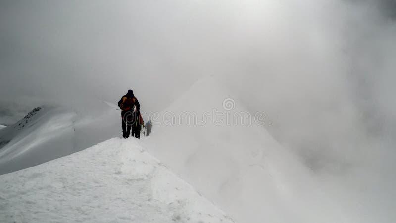 Escaladores que alcanzan la cumbre de la montaña imagen de archivo libre de regalías