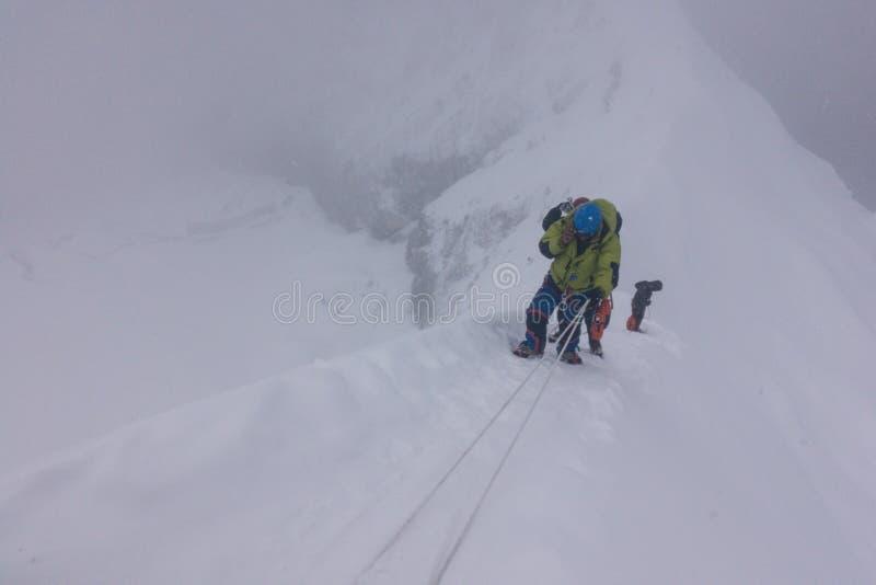 Escaladores que suben con las cuerdas en la línea, pico de la isla, región de Everest, Nepal fotografía de archivo libre de regalías