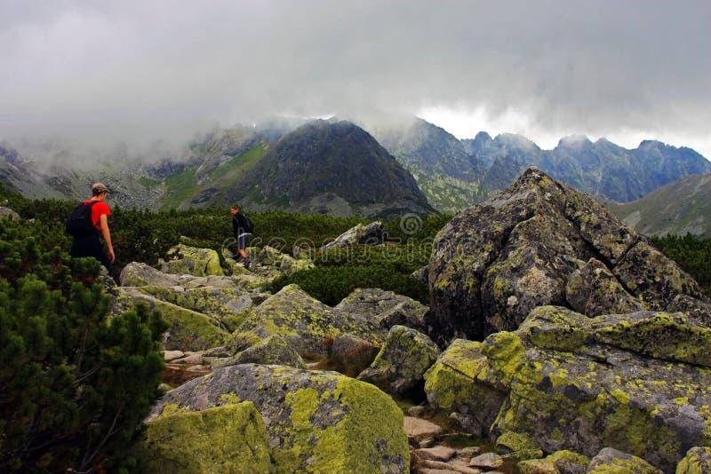 Escaladores que van para arriba la montaña en la montaña de Tatra fotografía de archivo libre de regalías