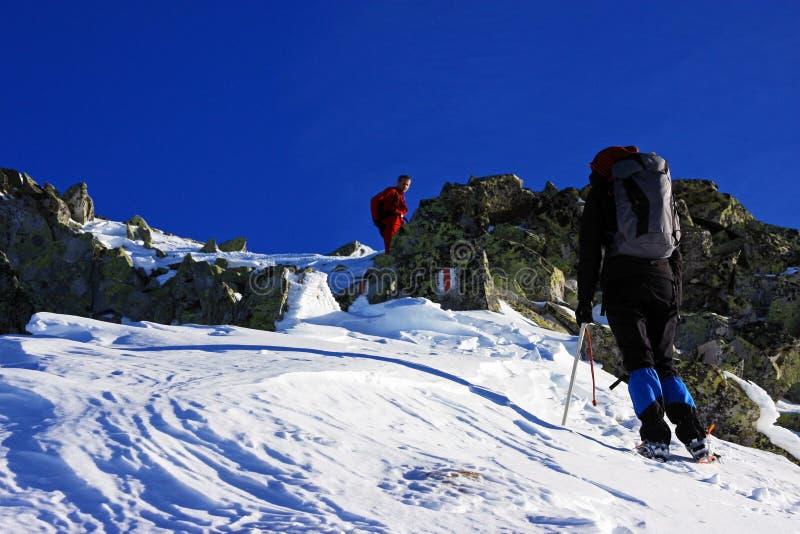 Escaladores que van para arriba la montaña en las montañas de Retezat, Rumania foto de archivo