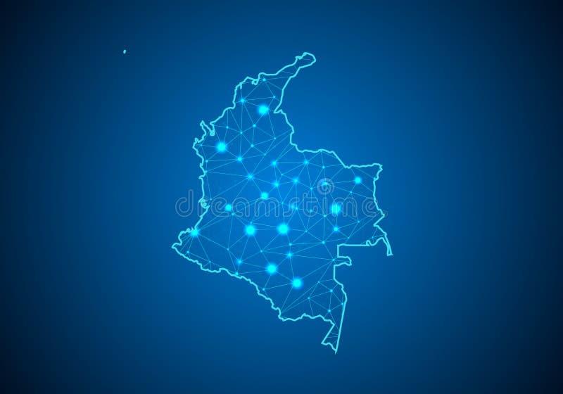 Escalas abstratas da linha e de ponto da erva-benta no fundo escuro com o mapa de Colômbia ilustração royalty free