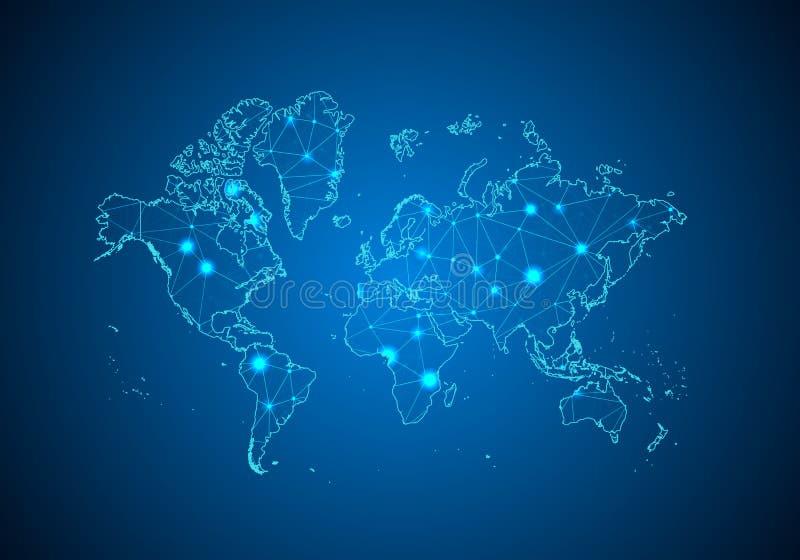 Escalas abstratas da linha e de ponto da erva-benta no fundo escuro com o mapa do mundo ilustração royalty free