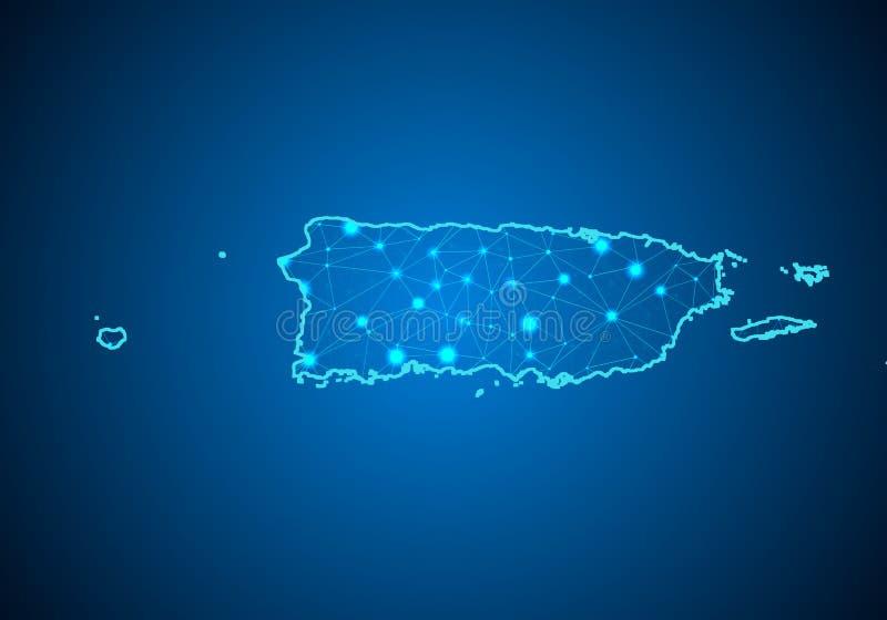 Escalas abstratas da linha e de ponto da erva-benta no fundo escuro com o mapa de Porto Rico ilustração do vetor
