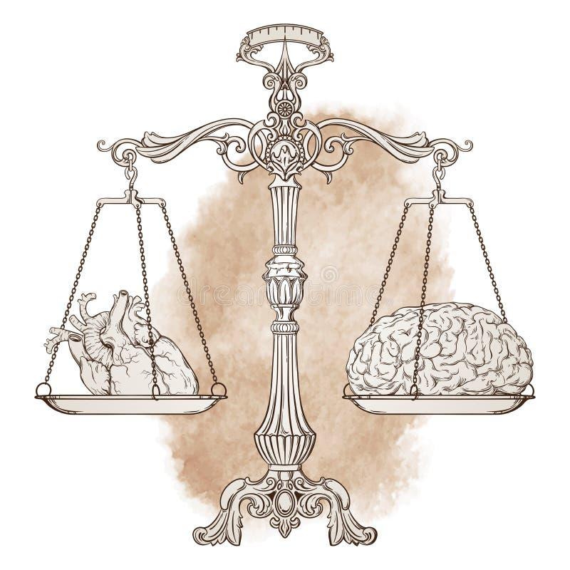 Escalas adornadas de la balanza de la antigüedad del ejemplo del vector con un corazón y un cerebro en las tazas libre illustration