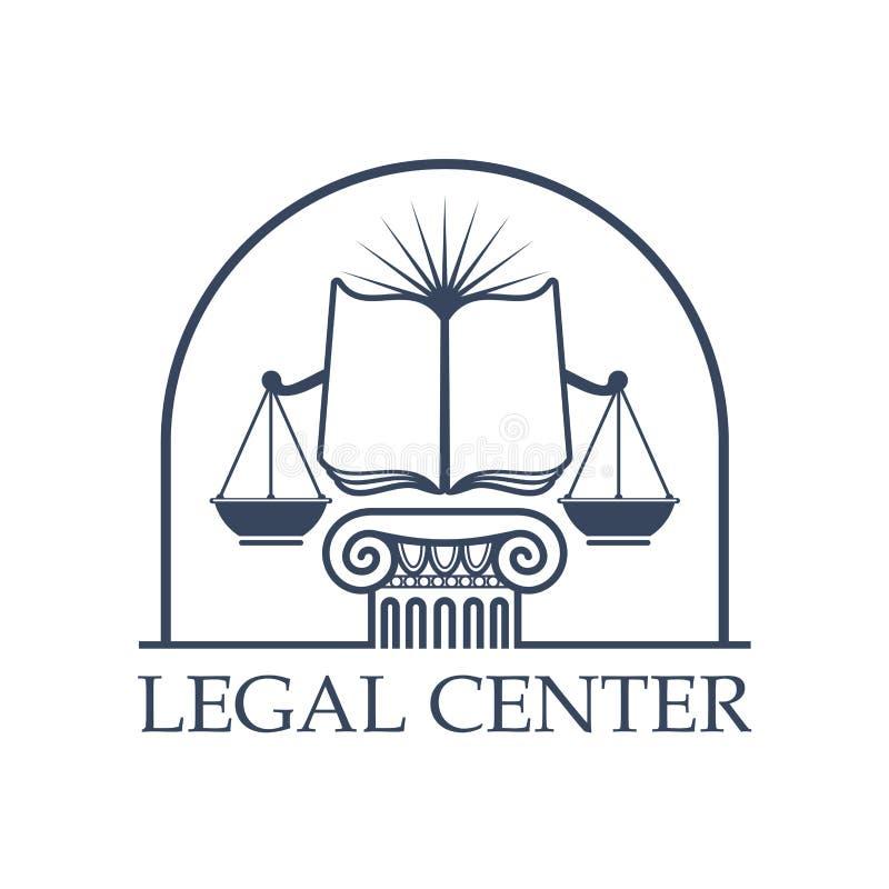 Escalas Center legais de justiça, ícone aberto do livro da lei ilustração do vetor