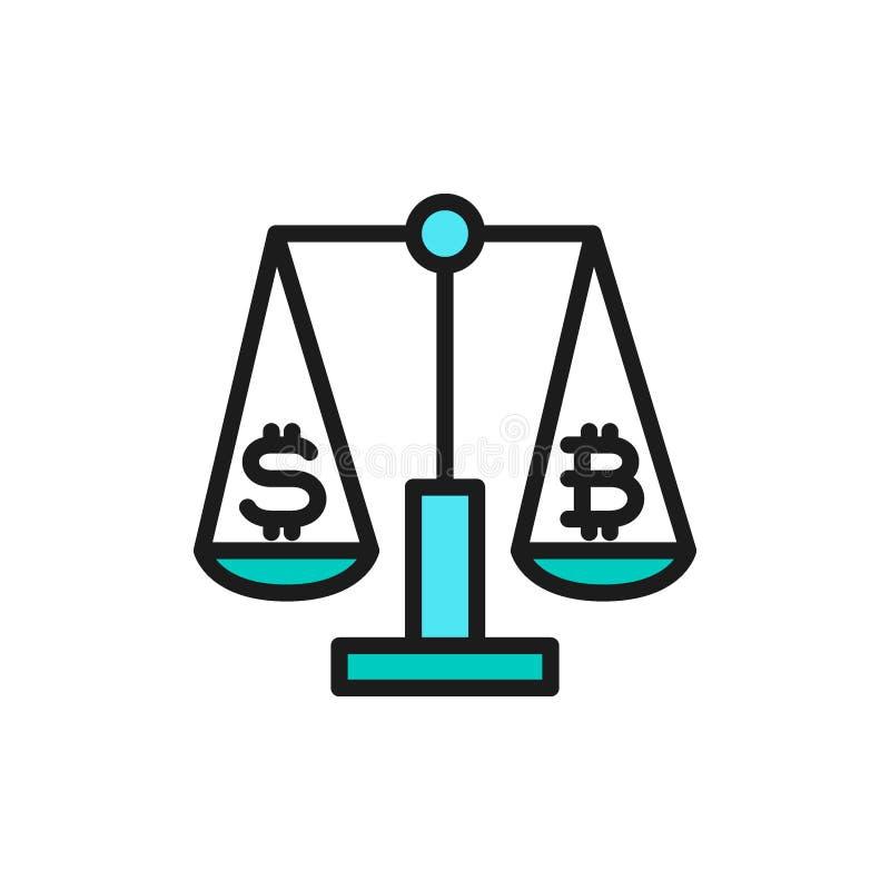 Escalas com sinal do dólar e do bitcoin, ícone liso da cor da troca do cryptocurrency ilustração royalty free