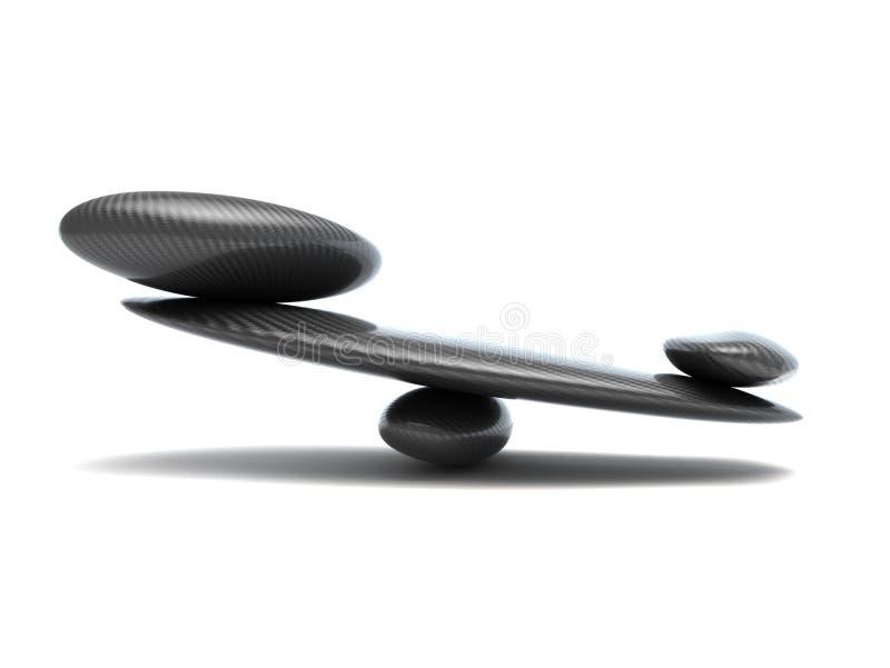 Escalas da estabilidade com formas da fibra do carbono imagem de stock