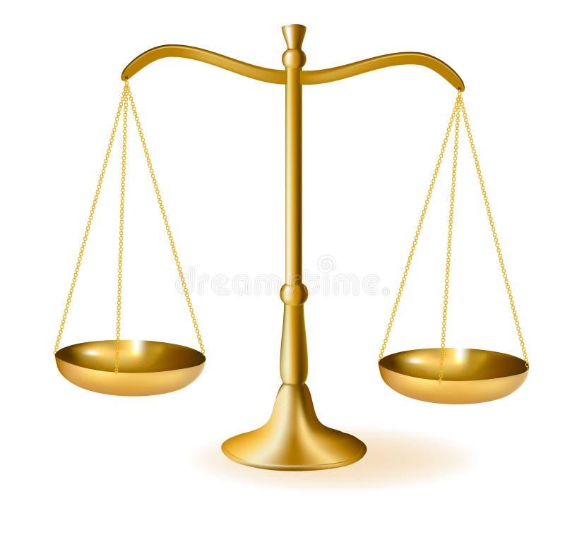 Escalas de cobre amarillo de la justicia. Vector. ilustración del vector