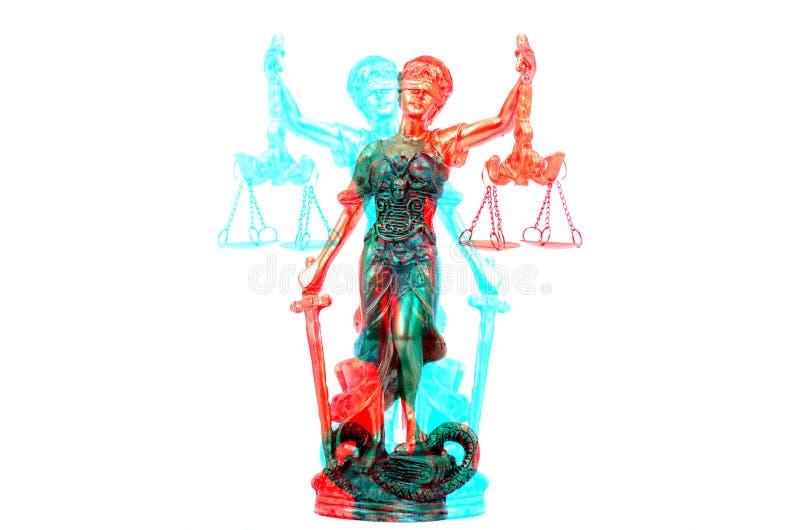 Escalas de justiça, Justitia, senhora Justice no branco isolado imagem de stock royalty free