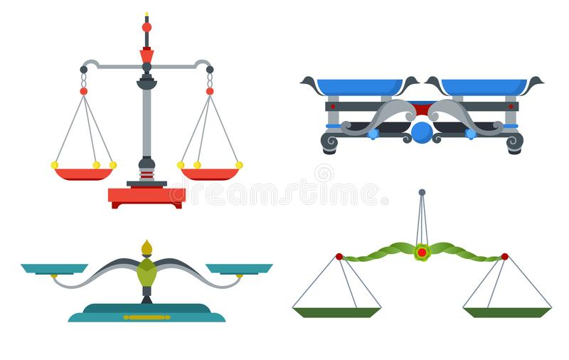 Escalas de la balanza con el peso y las cacerolas iguales El dispositivo para medir la masa, compara dos instrumentos de los obje libre illustration