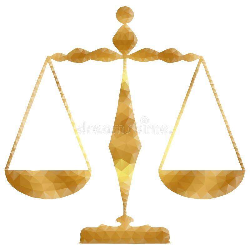 Escalas de la justicia, libra, polígono stock de ilustración