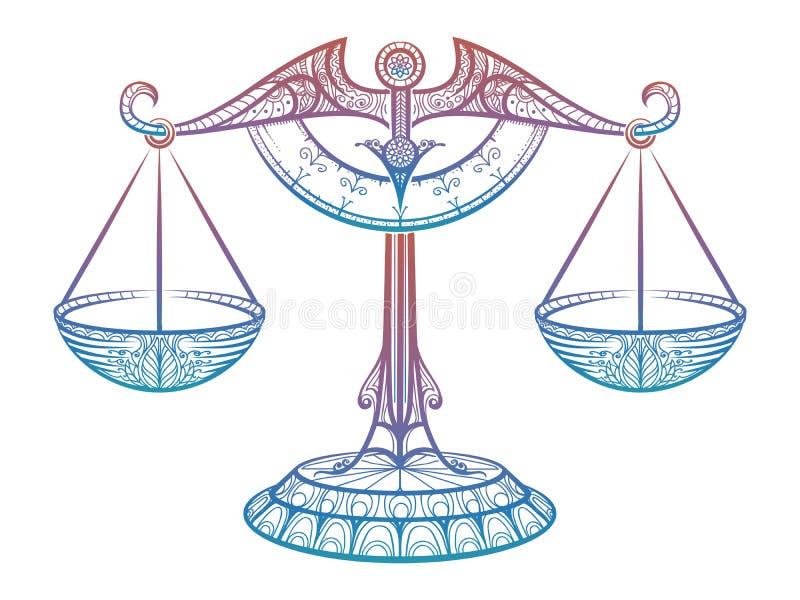 Escalas de la justicia, muestra del zentangle del libra del zodiaco stock de ilustración