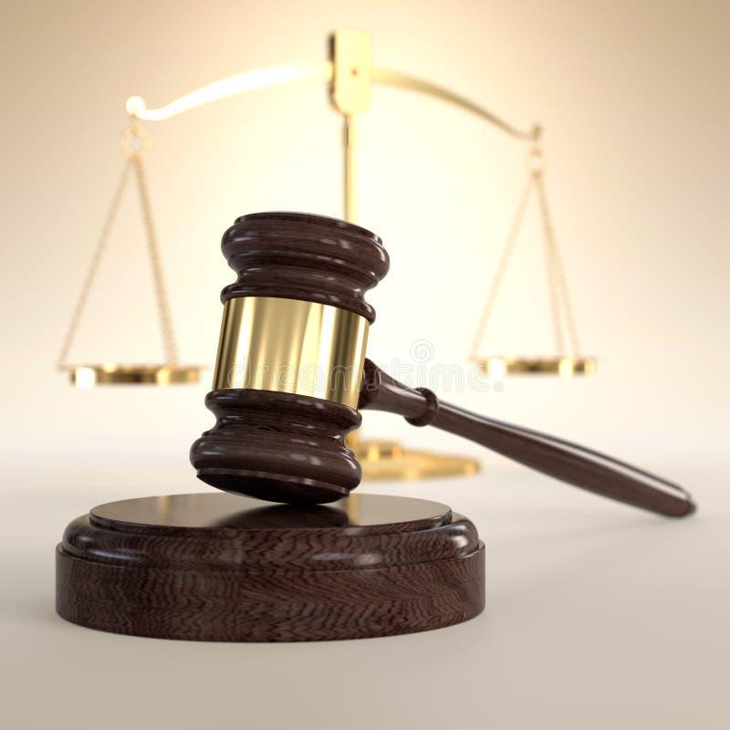 Escalas de la justicia y del mazo stock de ilustración