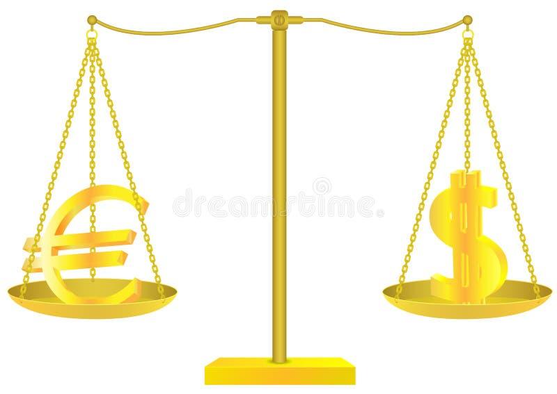 Escalas de oro con las muestras del euro y de dólar stock de ilustración
