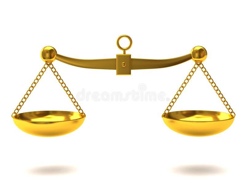 Escalas de oro de la justicia ilustración del vector