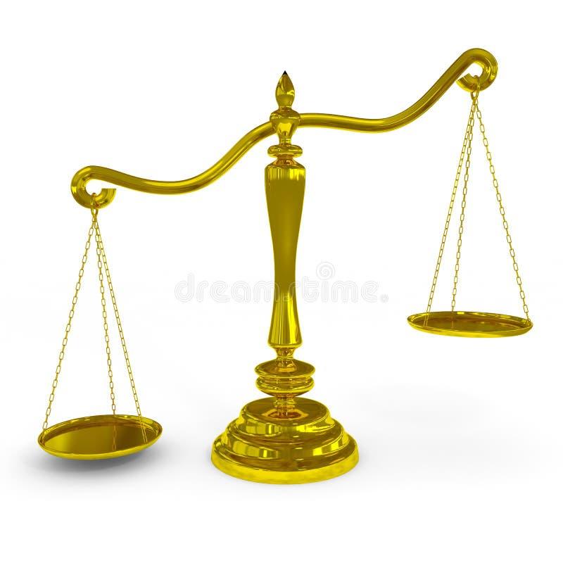 Escalas de oro desequilibradas. stock de ilustración
