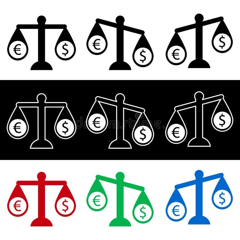 Escalas del euro y del dólar stock de ilustración