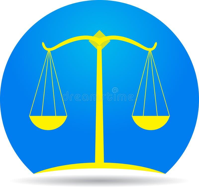 Escalas del icono de la justicia stock de ilustración
