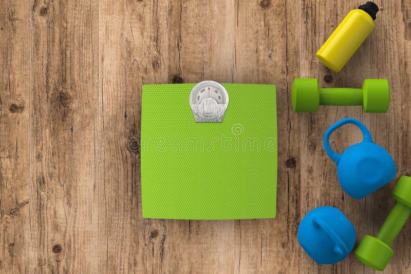 Escalas del peso con pesas de gimnasia y campanas de la caldera imagenes de archivo