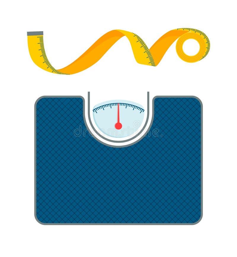Escalas del peso corporal y modelos de la cinta de la medida libre illustration