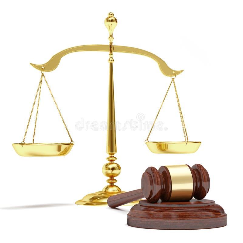 Escalas do ouro e martelo do leilão ilustração do vetor