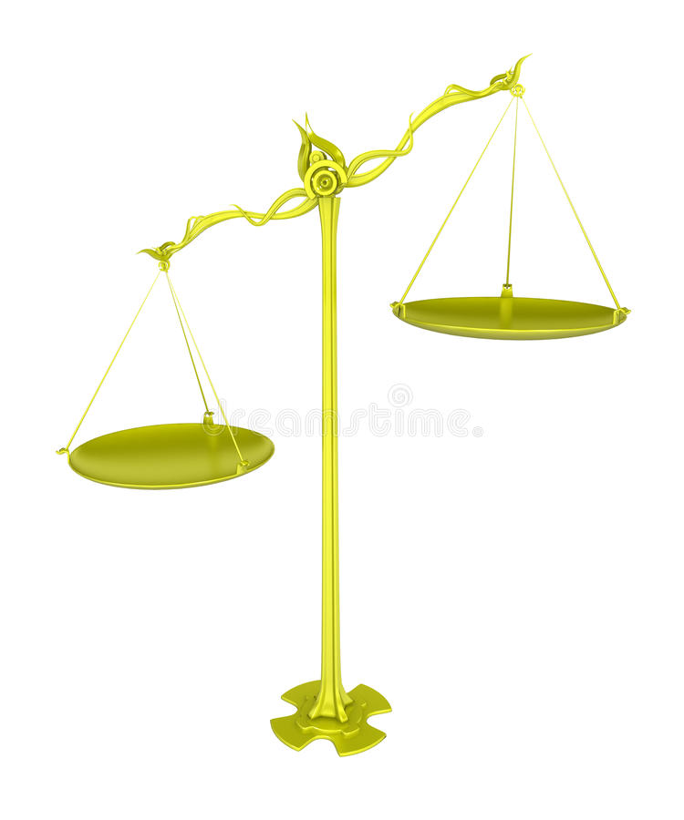 Escalas douradas, desequilíbrio ilustração royalty free