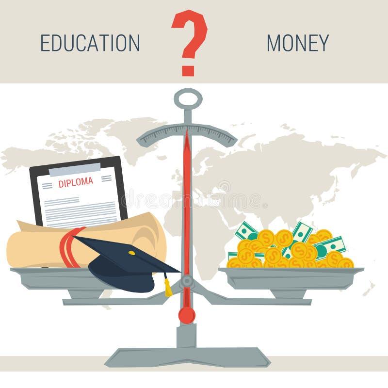 Escalas - educación o dinero ilustración del vector