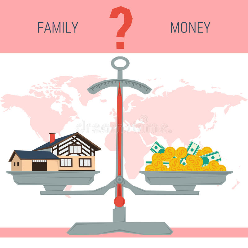 Escalas - familia o dinero stock de ilustración