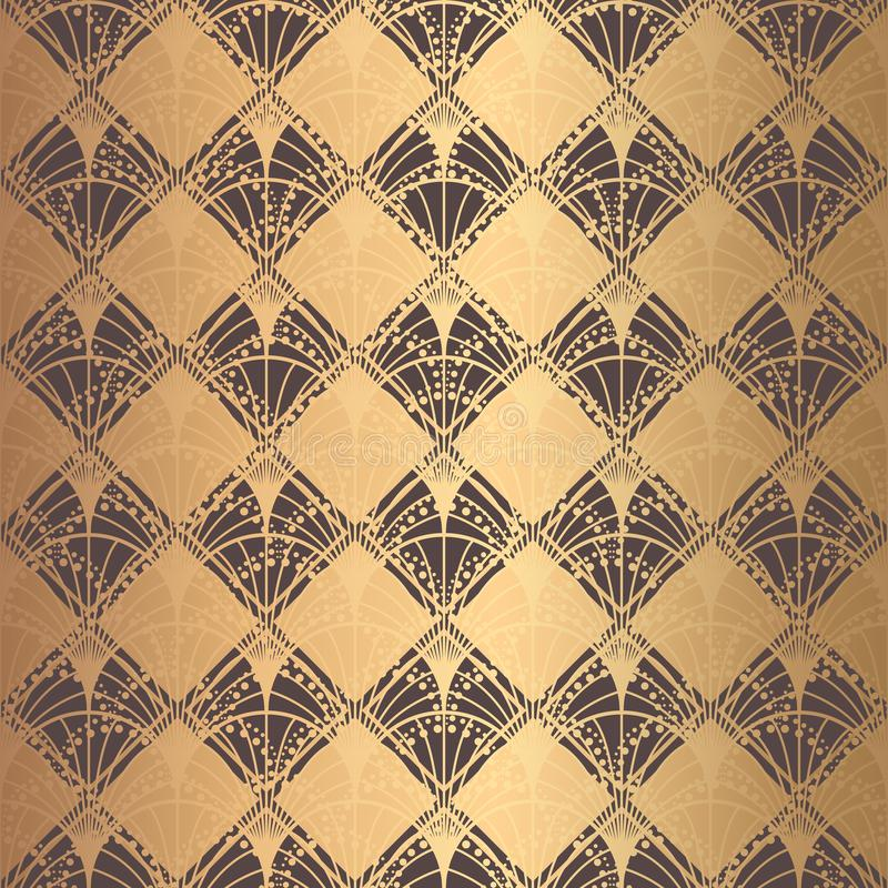 Escalas irregulares de Art Deco Pattern Golden Background ilustração royalty free