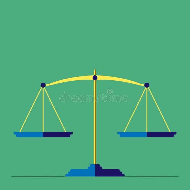 Escalas, justicia, pesando concepto ilustración del vector