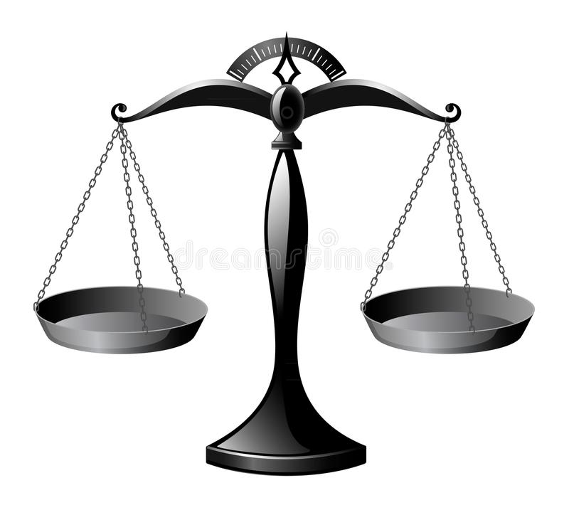 Escalas lustrosas pretas, escalas de justiça imagem de stock