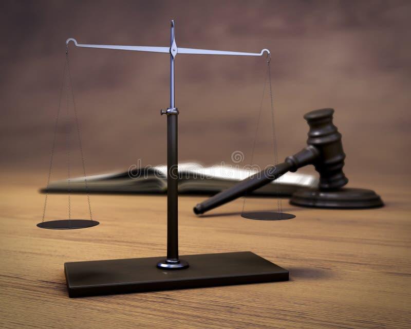 Escalas, martillo del juez y el libro en un fondo de madera ilustración del vector