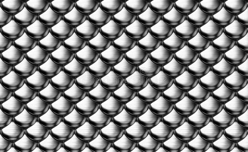 Escalas metálicas de prata da armadura ilustração do vetor