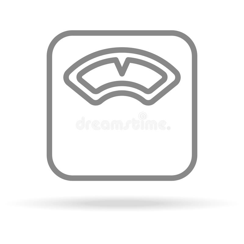 Escalas, peso, ícone da medida na linha estilo fina na moda isolado no fundo branco Símbolo médico para seu projeto ilustração stock