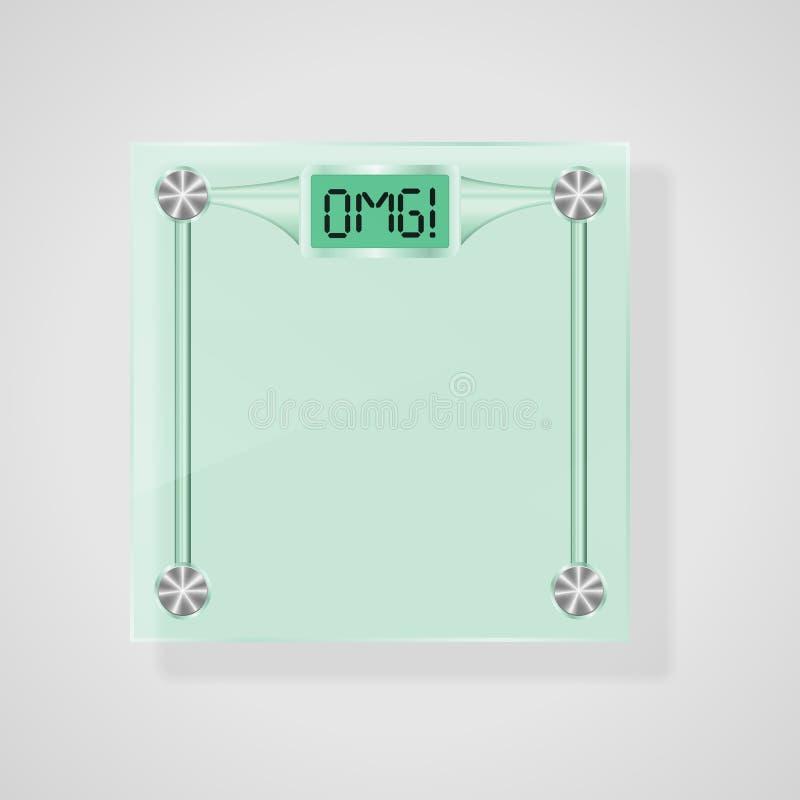 Escalas transparentes do vidro com OMG! Texto. Conceito da perda de peso ilustração stock
