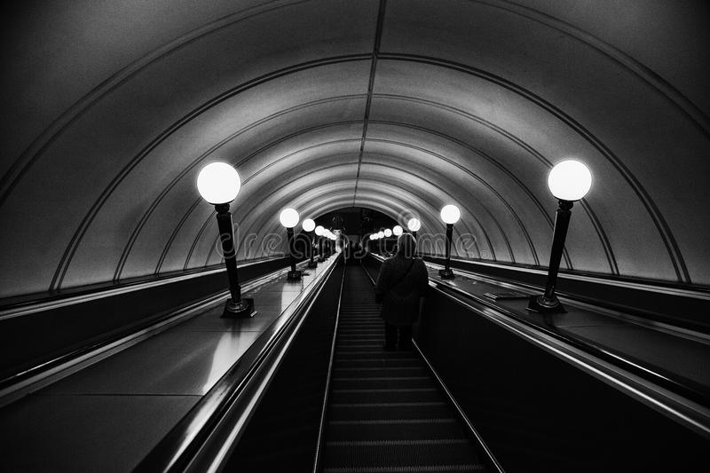 Escalator, Black, Black And White, Infrastructure stock photography