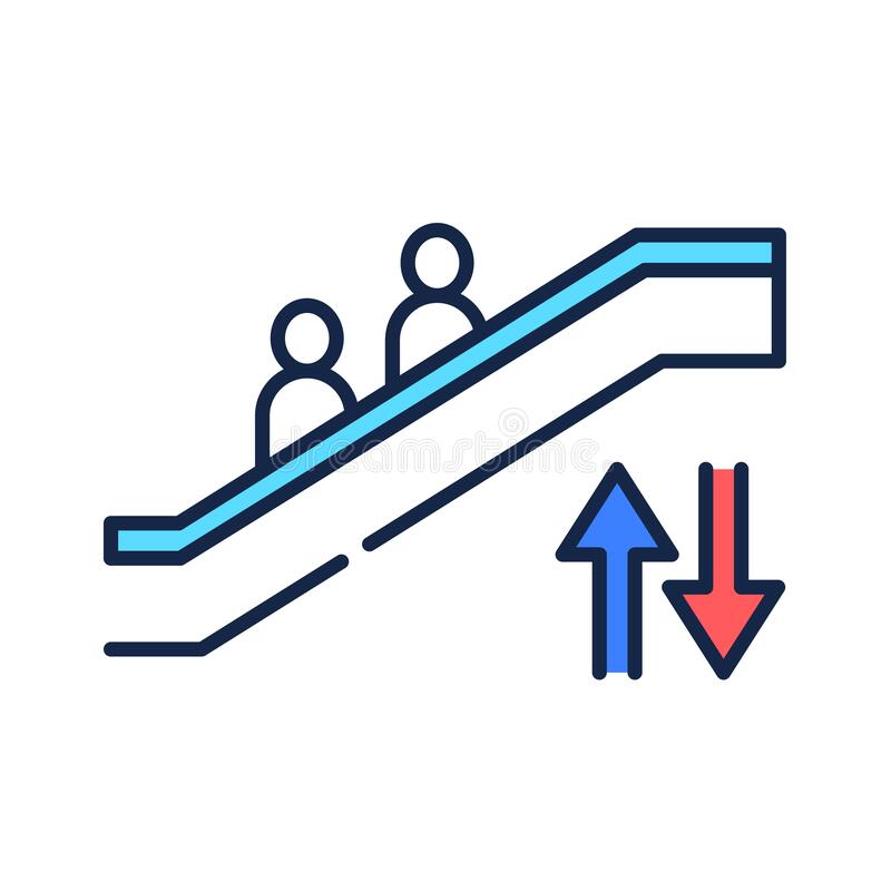Moving Staircase Line Icon. Stock Vector