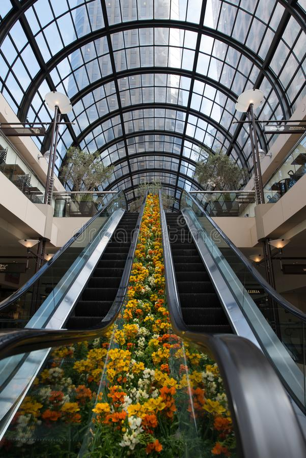 Escalator dans un centre commercial, San Francisco photo libre de droits