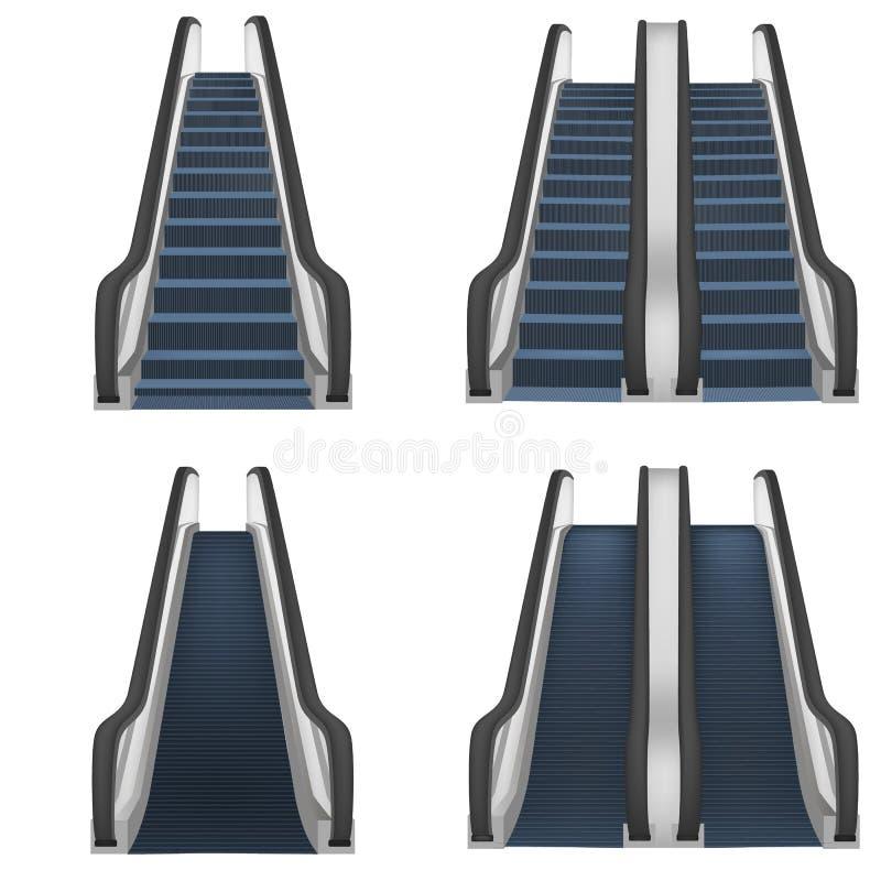 Escalator elevator mockup set, realistic style vector illustration
