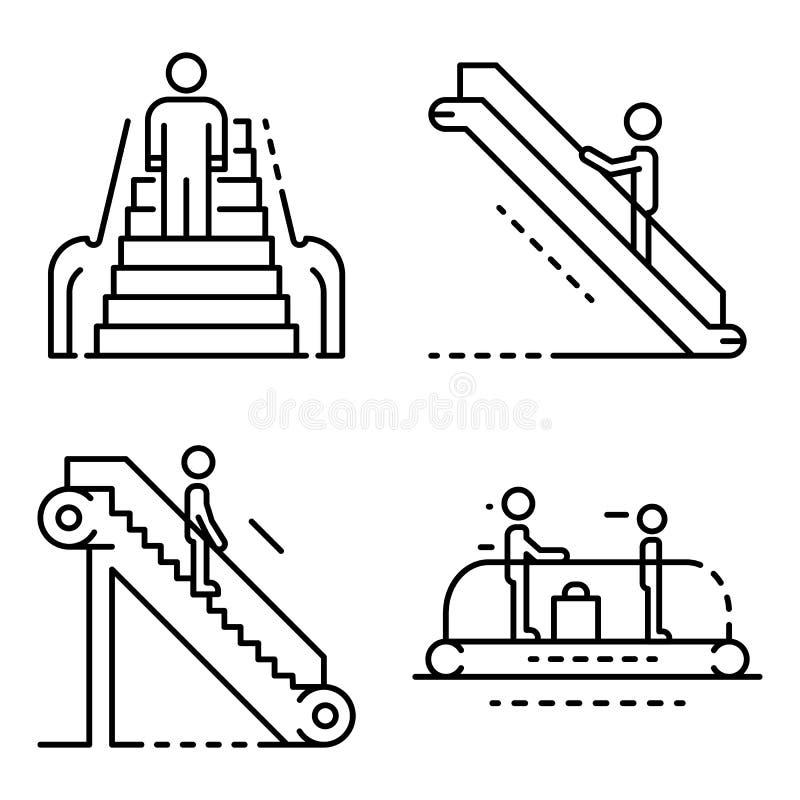 Escalator icon set, outline style vector illustration