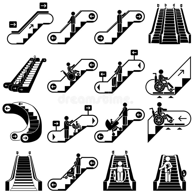 Escalator icon set, simple style royalty free illustration