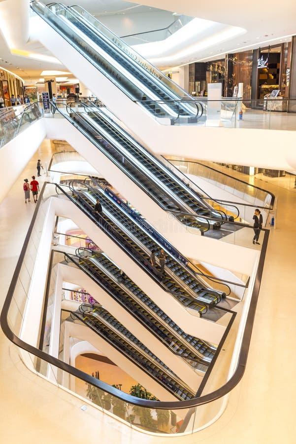 Escalator. Level of modern building escalator at Central Embassy shopping mall Bangkok Thailand royalty free stock photo