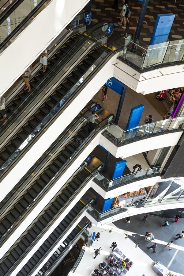 Escalator. Level of modern building escalator at Terminal 21 shopping mall Bangkok Thailand stock image