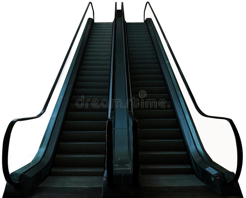 Escalator in the mall isolate white background royalty free stock photos